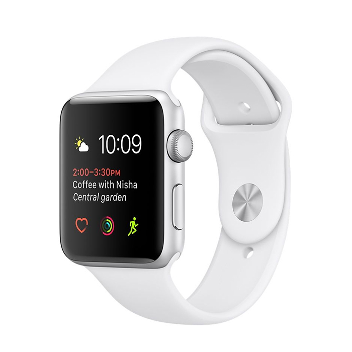 Apple Watch 42mm Silver Aluminium Case with White Sport Band (MNNL2)