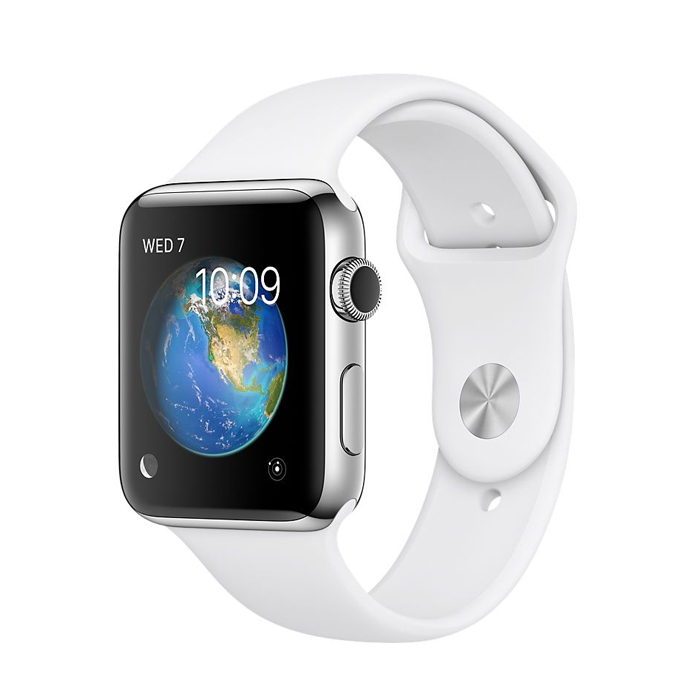 Apple Watch 42mm Stainless Steel Case with White Sport Band (MNPR2)
