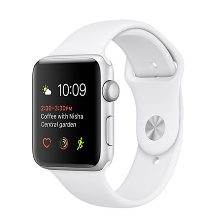 Apple Watch 38mm Silver Aluminium Case with White Sport Band (MNNG2)