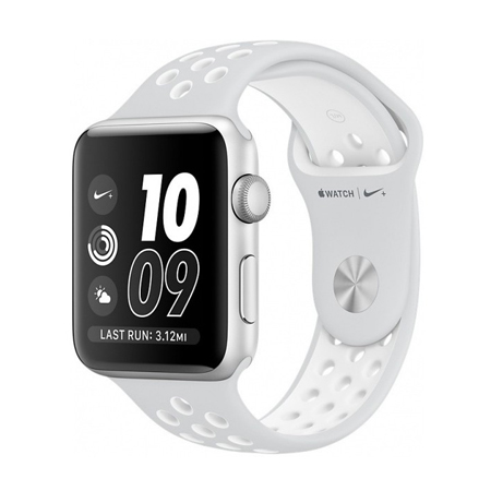 APPLE WATCH NIKE+ 42MM SILVER ALUMINUM CASE WITH PURE NIKE SPORT BAND (MQ192)