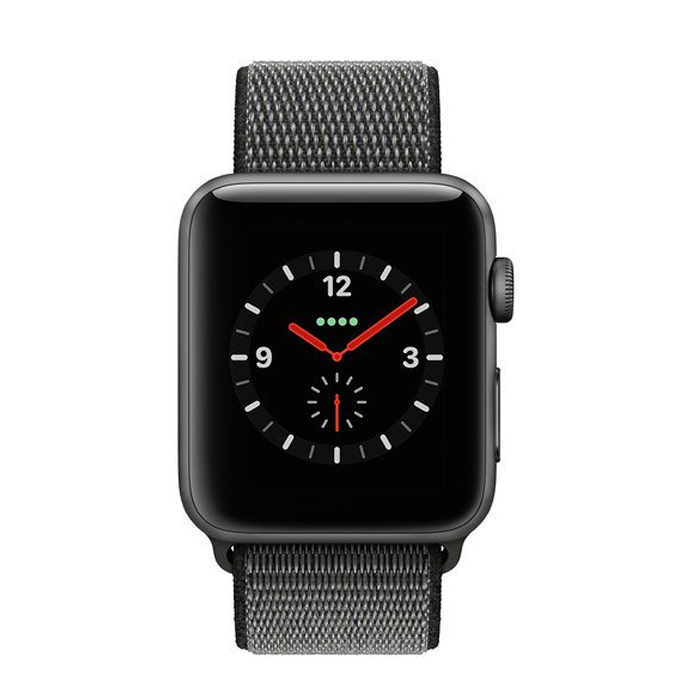 Smart watch Apple Watch 42mm Series 3 GPS + Cellular Space Gray Aluminum Case with Dark Olive Sport Loop (MQK62)