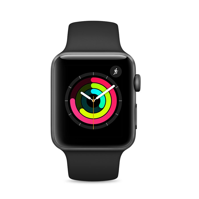 Apple Watch Series 3 42mm GPS Gray Ceramic Case with Gray/Black Sport Band (MQL12)