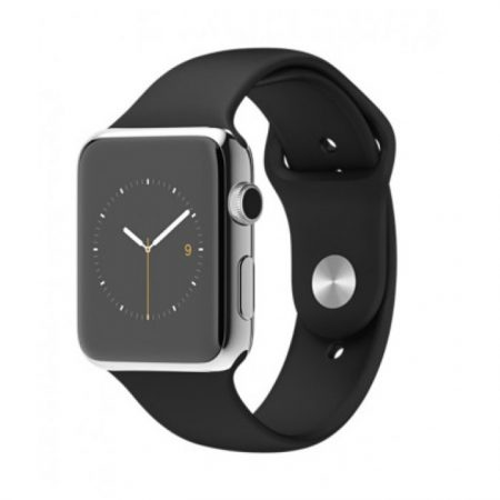 Apple Watch Sport 42mm Stainless Steel Case with Black Sport Band MJ3U2