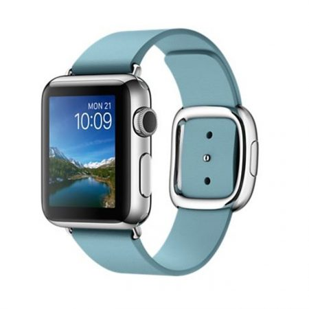 Apple (MMFA2) 38mm Stainless Steel Case with Blue Jay Modern Buckle - Medium Size Band